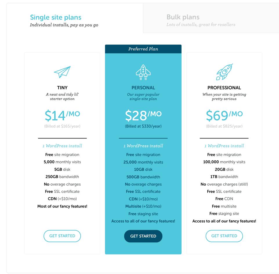 Flywheel managed WordPress hosting packages