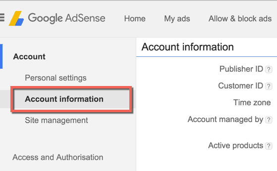 Google AdSense account information