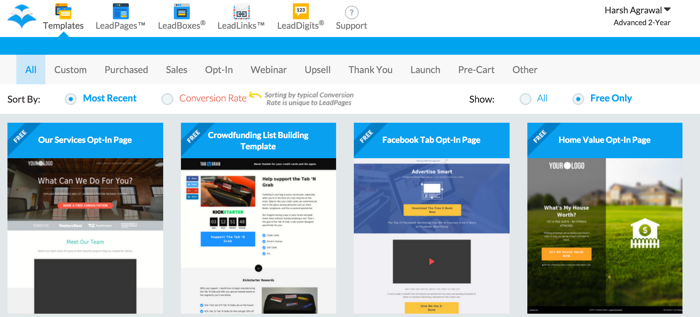 Leadpages Dashboard