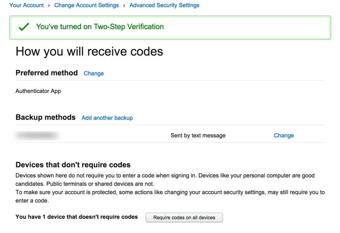 Securing Amazon account