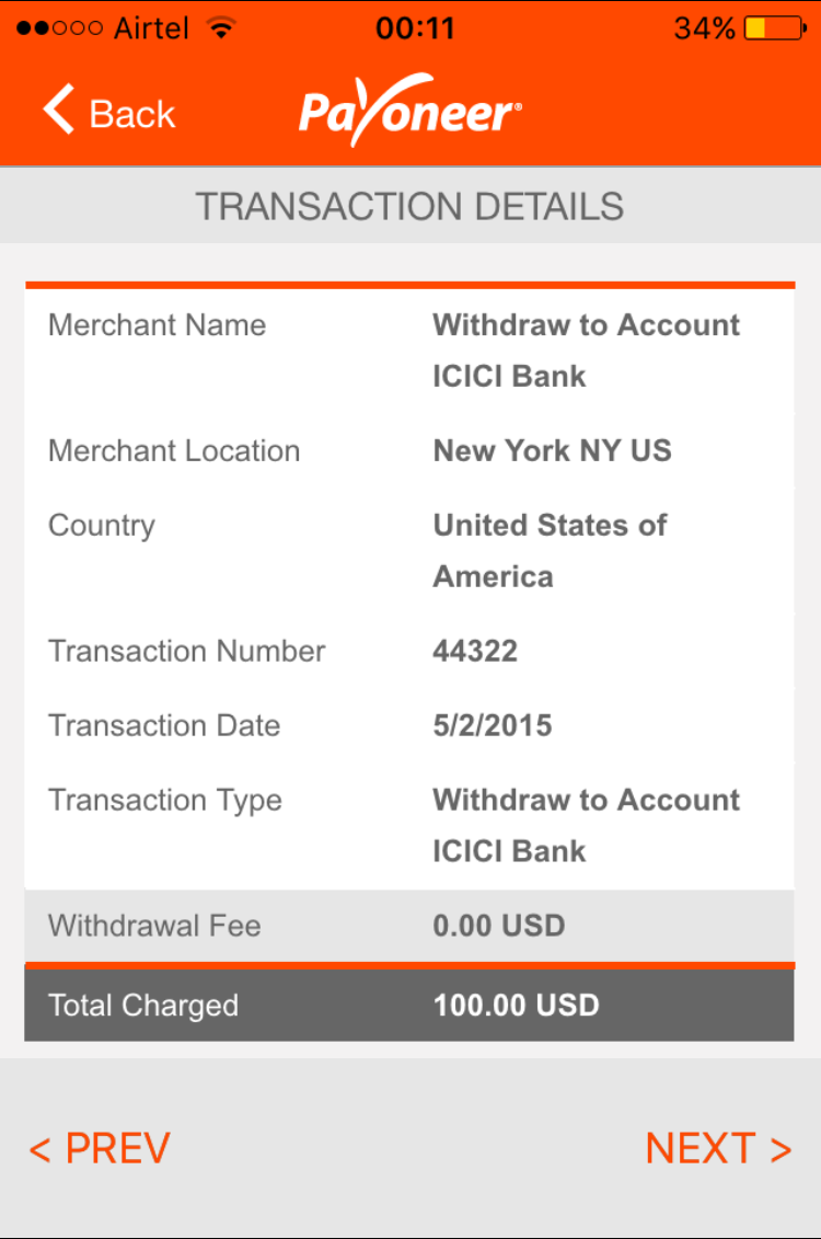 Transaction details on mobile