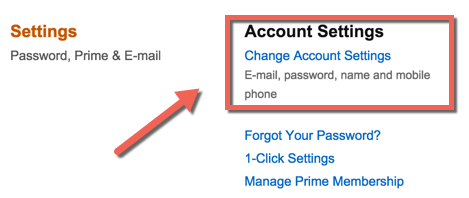 change Amazon Account settings