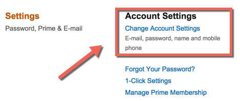 change Amazon Account settings
