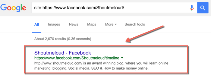 Facebook Page in Search engine