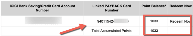 ICICI Payback account number