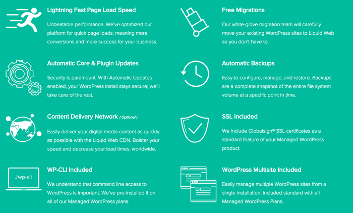 LiquidWeb managed WordPress features