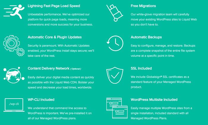 LiquidWeb managed WordPress features