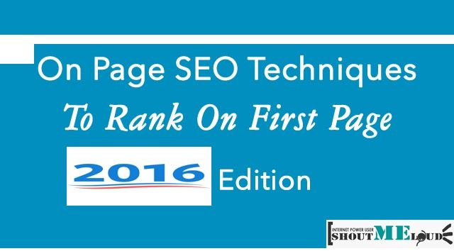 On page SEO 2016