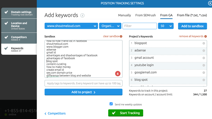 Track Keyword ranking in Google