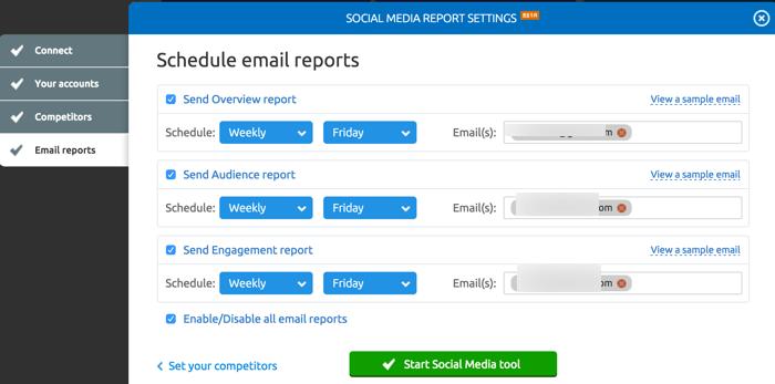social media email report