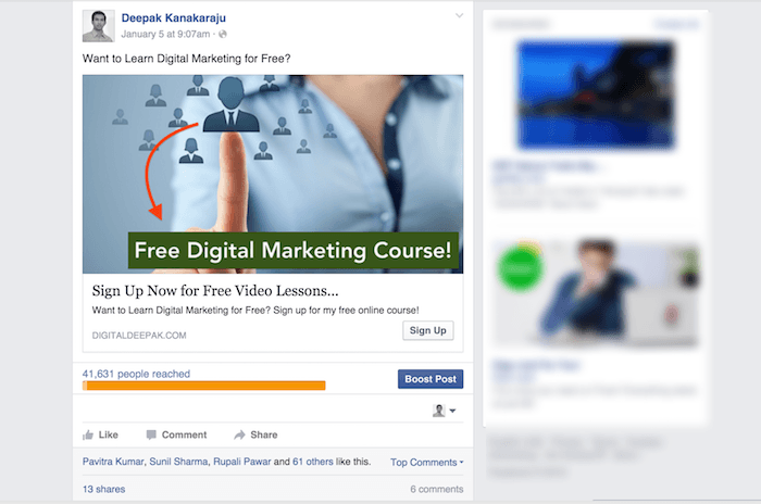 High converting Facebook ad example