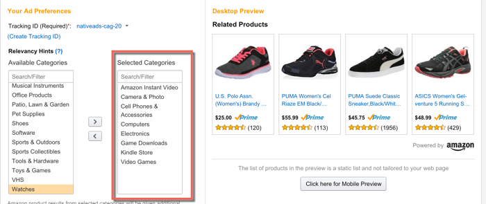 Amazon display ads configuration