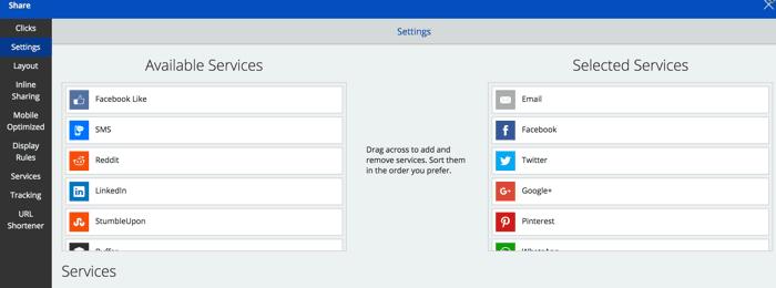 Social media sharing buttons website