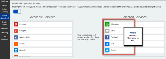 mobile optimized sharing buttons
