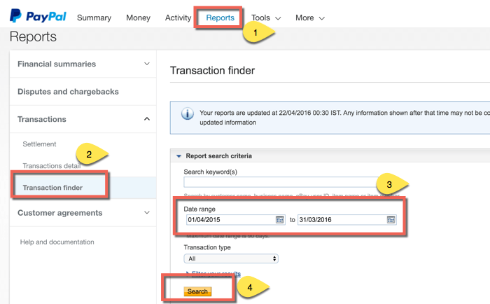 Export Paypal transaction details
