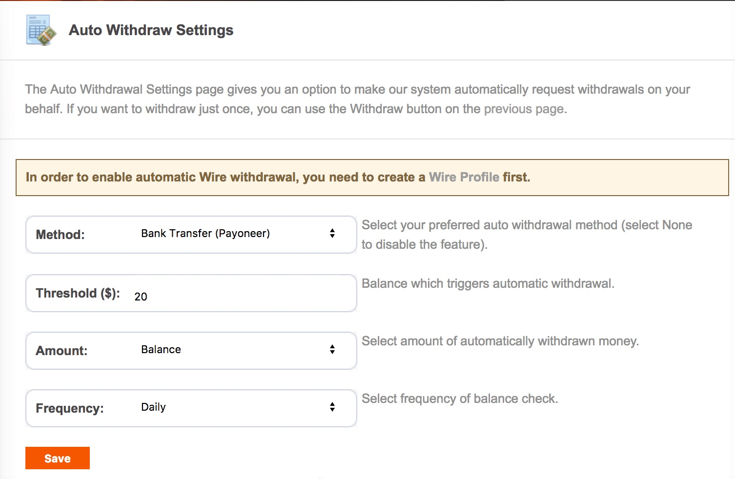 Once You Signup, Do Setup Auto Withdrawal Option This Way, You Will Get  Paid Automatically Once You Reach Minimum Payout Threshold