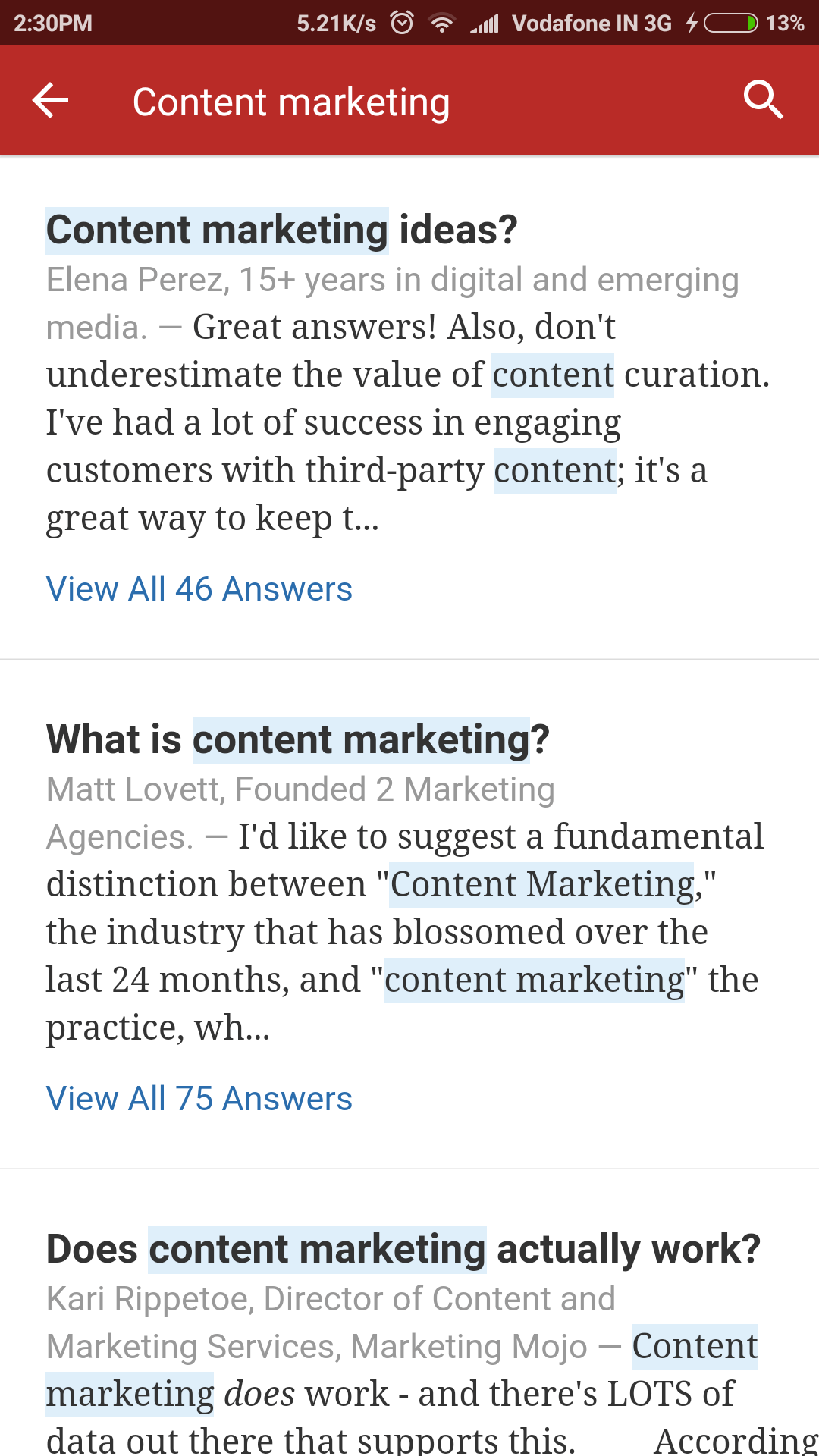 Quora Android App Search Result