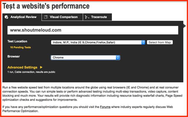Webpage-Speed-test