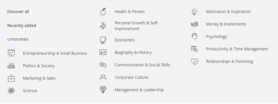 blinkist categories