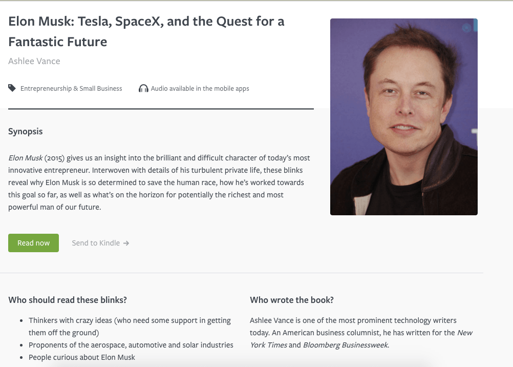 Blinkist elon musk book