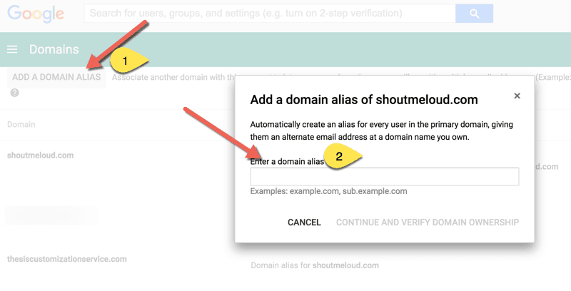 Add domain Alias in Google Apps
