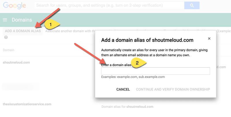 Add domain Alias in Google Apps