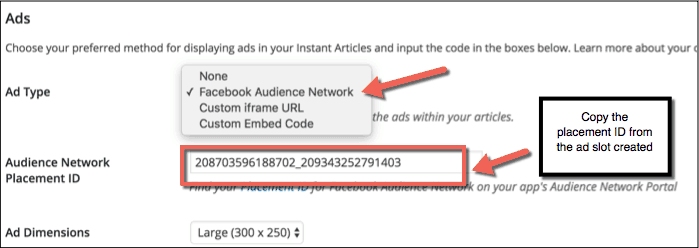 Adding Facebook ads on WordPress