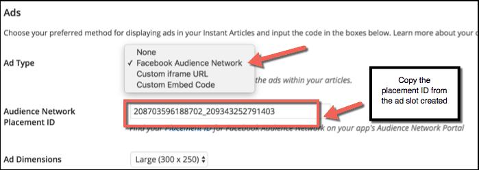Adding Facebook ads on WordPress