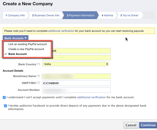 Audience network payment settings