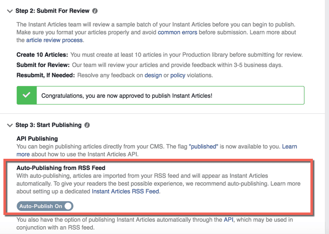 Auto publish from RSS feed
