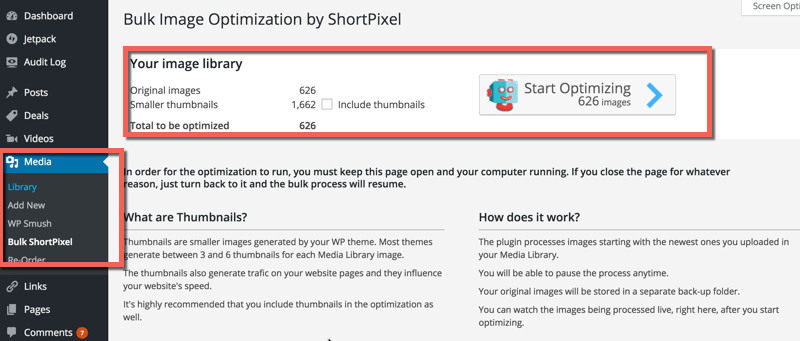 Bulk WordPress image optimization ShortPixels