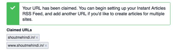 Claimed URL