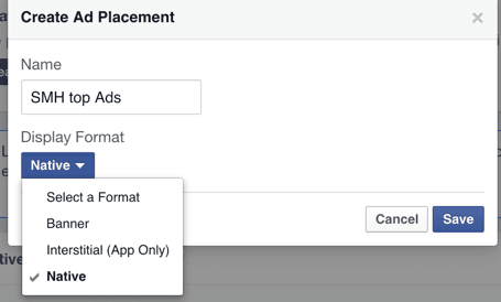 Create ad placement Facebook Instant articles