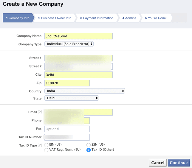 Create company for Facebook Ad payment