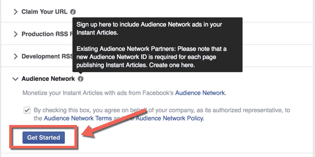 Enable Facebook audience network