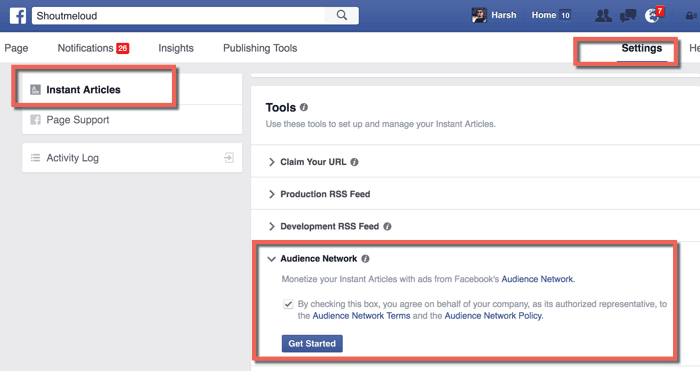 Enabling facebook Audience network