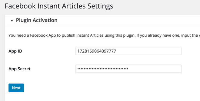 Facebook Instant article WordPress plugin settings