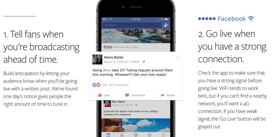 Facebook Live Video tips