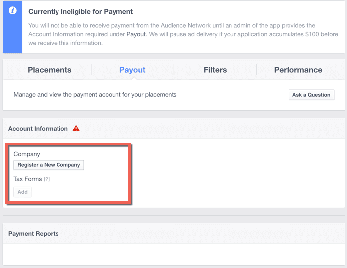 Facebook audience network Payment