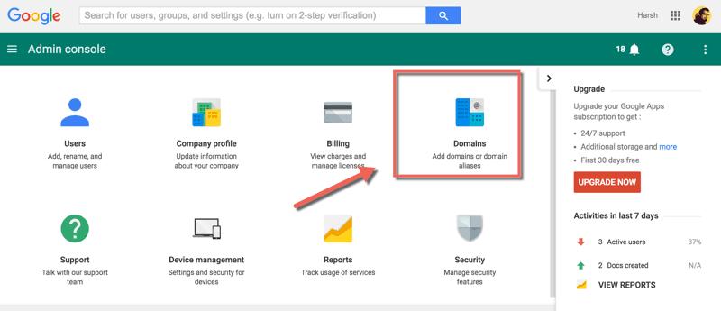 Google apps domain alias feature