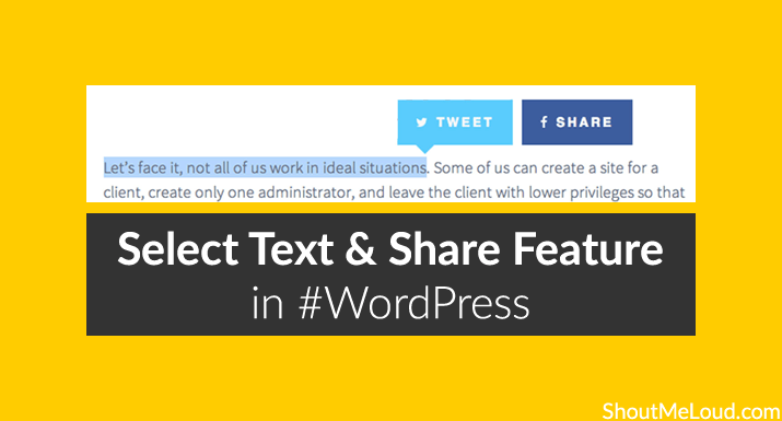 Select Text and Share Feature in WordPress