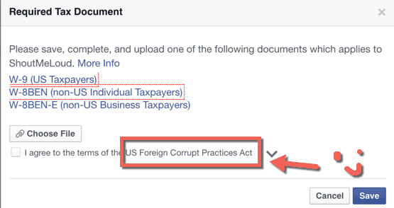 Tax forms for Facebook ad publishers