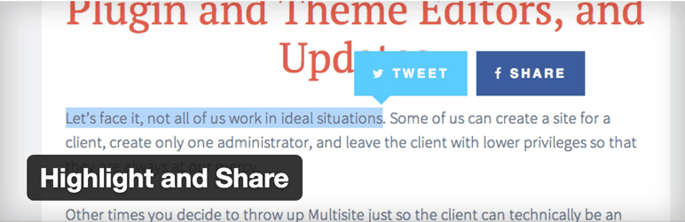 Highlight share twitter WordPress plugin