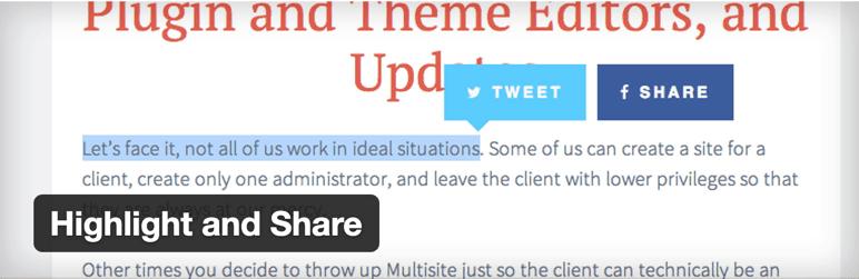 Highlight share twitter WordPress plugin