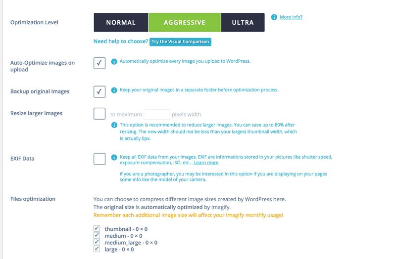 Imagify WordPress plugin configuration