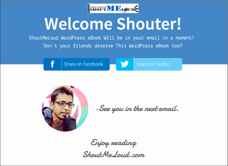 ShoutMeLoud Thank you page