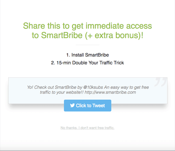 Smartbribe click to tweet