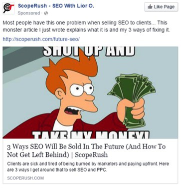 Benefit=Get more clients to your SEO service; core product=SEO software.