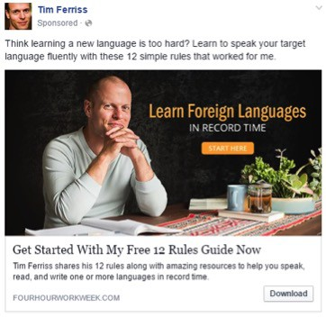 Benefit=Learn to speak foreign language easily; product=self help books.