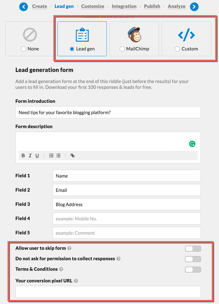 Lead generation using Quizzes